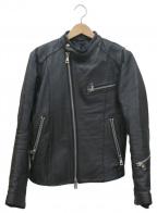 AKM()の古着「ホースレザーシングルライダースジャケット」|ブラック