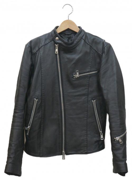 AKM(エイケイエム)AKM (エイケイエム) ホースレザーシングルライダースジャケット ブラック サイズ:Mの古着・服飾アイテム
