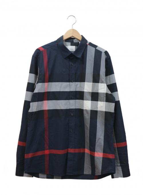 BURBERRY(バーバリー)BURBERRY (バーバリー) チェックストレッチコットンポプリンシャツ ネイビー サイズ:L 8018111の古着・服飾アイテム