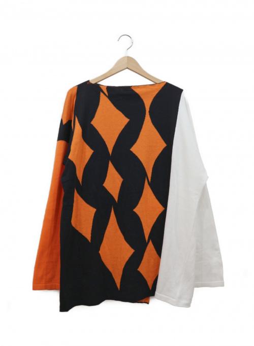 sulvam(サルバム)sulvam (サルバム) スクールアーガイルニット オレンジ×ブラック サイズ:M リネン100%  日本製の古着・服飾アイテム