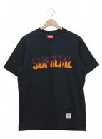 Supreme(シュプリーム)の古着「ロゴ刺繍Tシャツ」|ブラック×オレンジ