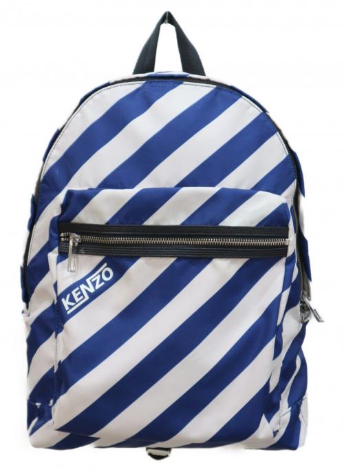 KENZO(ケンゾー)KENZO (ケンゾー) デイパック ホワイト×ブルー STRIPED NYLON BACKPACK F855SF213F28 SU1107の古着・服飾アイテム