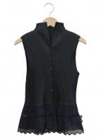 PLEATS PLEASE(プリーツプリーズ)の古着「ノースリーブプリーツシャツブラウス」 ブラック