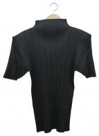 PLEATS PLEASE(プリーツプリーズ)の古着「フレンチスリーブハイネックプリーツブラウス」|ブラック