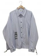 LEGENDA(レジェンダ)の古着「バックロゴ刺繍シャツジャケット」|ホワイト×ブルー