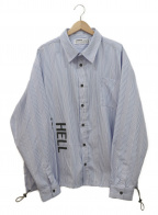 LEGENDA(レジェンダ)の古着「バックロゴ刺繍シャツジャケット」 ホワイト×ブルー