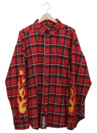 LEGENDA(レジェンダ)の古着「スリーブ刺繍ビッグチェックネルシャツ」|レッド×ブラック