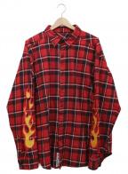 LEGENDA(レジェンダ)の古着「スリーブ刺繍ビッグチェックネルシャツ」 レッド×ブラック