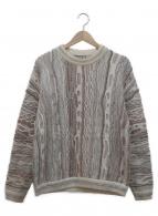 COOGI(クージー)の古着「立体編みクルーネックニット」 ベージュ×ブラウン