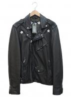 ALL SAINTS(オールセインツ)の古着「スター刺繍ライダースジャケット」 ブラック×ホワイト
