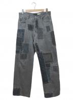 ARMANI JEANS(アルマーニジーンズ)の古着「ビッグリメイクデニムパンツ」|グレー