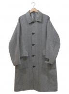 Adam et Rope(アダムエロペ)の古着「ダブルフェイスリバーシブルステンカラーコート」 ホワイト×ブラック