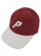 PALACE(パレス)の古着「Pロゴコーデュロイキャップ」|ボルドー×ホワイト