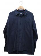 COMOLI(コモリ)の古着「コットンネルオープンカラールーズシャツ」|ネイビー