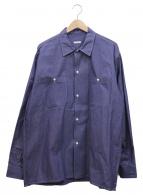 COMOLI(コモリ)の古着「オープンカラールーズシャツ」|ネイビー