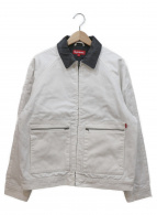 Supreme(シュプリーム)の古着「レザーカラーワークジャケット」 ホワイト×ブラック