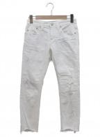 YANUK()の古着「カットオフスキニーデニムパンツ」|ホワイト