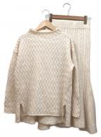 ROPE(ロペ)の古着「ケーブルニットスカートセットアップ」|ホワイト