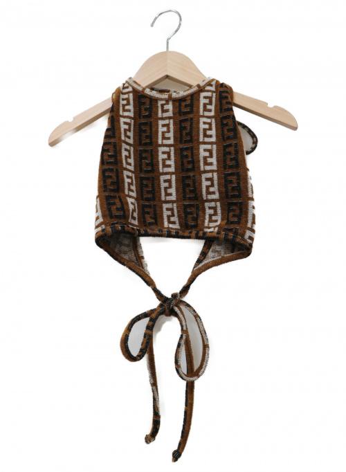 FENDI(フェンディ)FENDI (フェンディ) ズッカ柄パイルビスチェ ブラウン×ブラック サイズ:44の古着・服飾アイテム