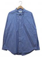 Graphpaper(グラフペーパー)の古着「ストライプルーズシャツ」 サックスブルー