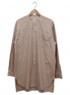 COMOLI(コモリ)の古着「バンドカラールーズシャツ」|サンドピンク