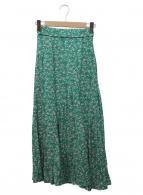 ()の古着「プリントナローフレアスカート」|グリーン