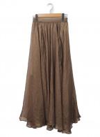 Lily Brown(リリーブラウン)の古着「光沢シースルーフレアスカート」 ブラウン
