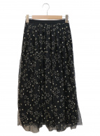 ()の古着「スタームーンチュールスカート」|ブラック×ゴールド