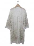 Lily Brown(リリーブラウン)の古着「チュール刺繍ガウンカーディガン」|ホワイト×マルチカラー