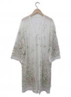 Lily Brown(リリーブラウン)の古着「チュール刺繍ガウンカーディガン」 ホワイト×マルチカラー