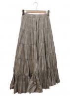 FRAY ID(フレイアイディー)の古着「ティアードプリーツタフタスカート」|ベージュ×ホワイト