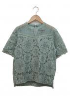 MAISON SPECIAL(メゾンスペシャル)の古着「コンビレース半袖ブラウス」|ダスティーグリーン