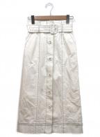 Diagram()の古着「配色ステッチスカート」|ホワイト×ブラック