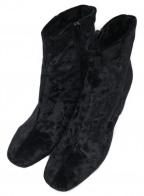 FABIO RUSCONI()の古着「ベロアタッチショートブーツ」 ブラック