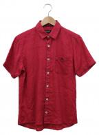 BURBERRY BLACK LABEL()の古着「半袖ドットリネンシャツ」|ショッキングピンク×ブラック