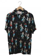 Aloha Blossom(アロハブロッサム)の古着「アロハシャツ」 ブラック×ブルー