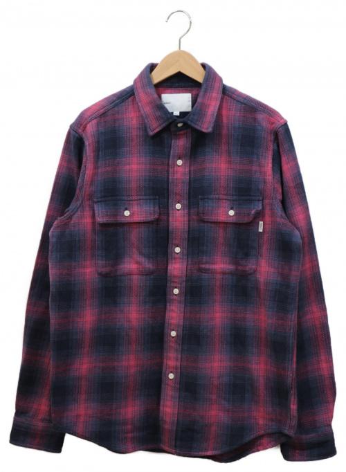 adsum(アドサム)ADSUM (アドサム) ヘビーコットンチェックシャツ パープル×グレー サイズ:LARGEの古着・服飾アイテム