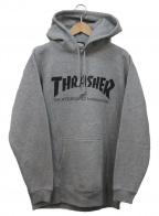 THRASHER(スラッシャー)の古着「ロゴプリントプルオーバーパーカー」|グレー×ブラック