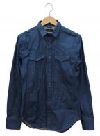 Junhashimoto(ジュンハシモト)の古着「ストレッチデニムウエスタンシャツ」 ネイビー
