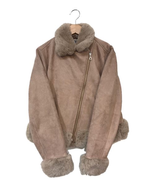 Rirandture(リランドチュール)Rirandture (リランドチュール) フェイクファーライダースジャケット ピンク サイズ:2の古着・服飾アイテム