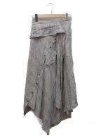 AULA(アウラ)の古着「LINEN GLEN CHECK SKIRT」|グレー