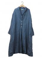 YARRA(ヤラ)の古着「リネンシャンブレー100%ショールカラーコート」|ネイビー