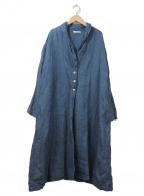 YARRA(ヤラ)の古着「リネンシャンブレー100%ショールカラーコート」 ネイビー