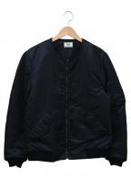 Rags McGREGOR(ラグス マクレガー)の古着「ノーカラーMA-1ジャケット」|ネイビー