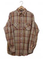 ()の古着「ヘビーコットンチェックシャツ」|ベージュ×レッド