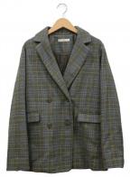 UNGRID(アングリッド)の古着「スリーブスリットチェックジャケット」 グリーン×ブルー
