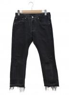 OLD PARK(オールドパーク)の古着「リメイクデニムパンツ」|ブラック