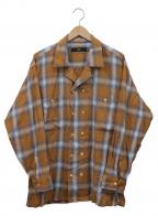 Vaporize(ヴェイパライズ)の古着「ダブルオープンカラーシャツ」 ベージュ×ホワイト