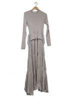emmi atelier(エミアトリエ)の古着「ニットドッキングワンピース」|グレー