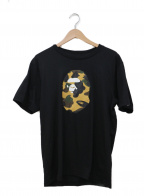 BAPE BY A BATHING APE(ベイプバイアベイシングエイプ)の古着「サルカモプリントTシャツ」|ブラック